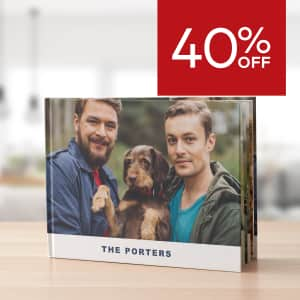 40% off large photobooks. Plus 25% off other sizes.