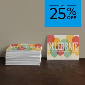 up to 25% off invitations (premium finishes). Promo code WEMEANBIZ