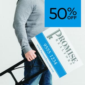 50% off corflute signs.