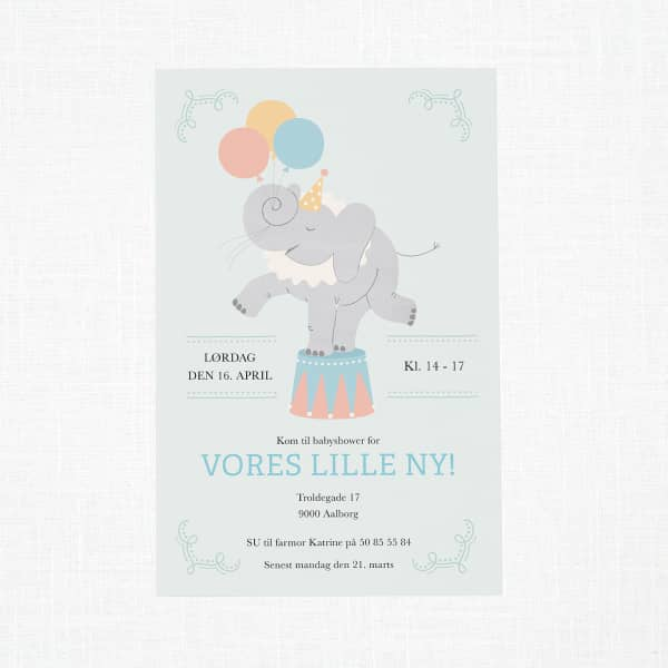 Personaliserede invitationer til baby shower fra Vistaprint