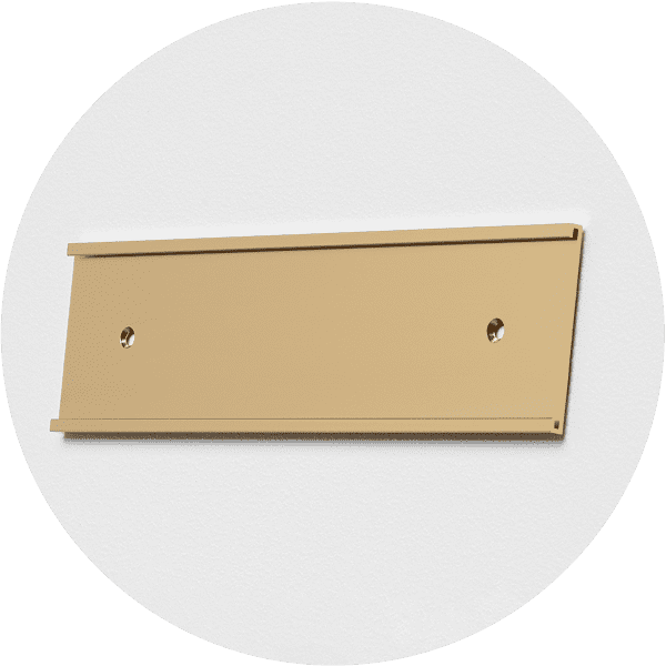 gold aluminum door sign