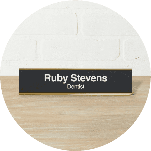 gold aluminum desk name plate