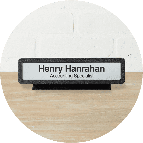 designer black desk name plate