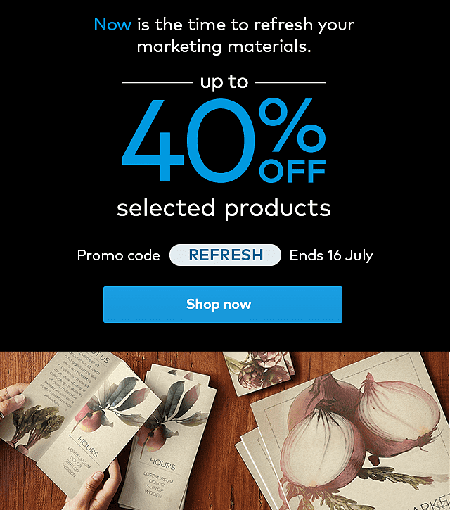 Up to 40% off selected products. Promo code REFRESH.