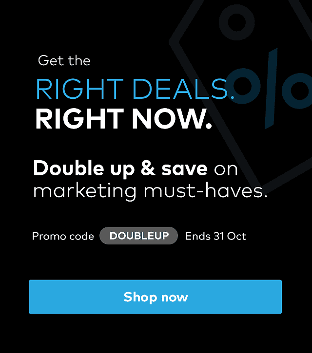 Double Up and Save. Promo code DOUBLEUP. Ends 31 October.