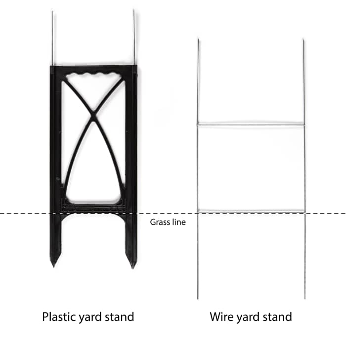 Custom wire yard stand at Vistaprint