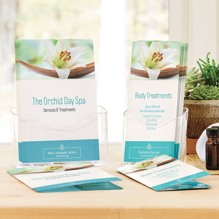 custom spa bifold and trifold brochure at Vistaprint