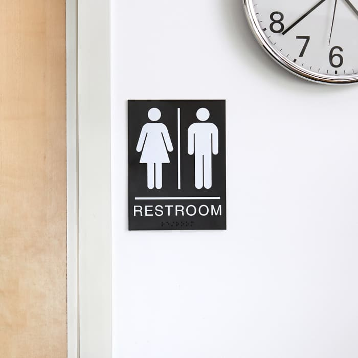 restroom sign used in office