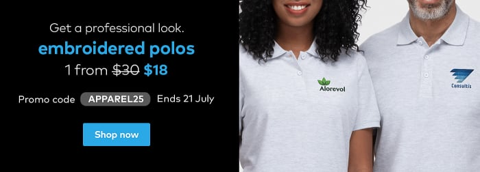 Polos from $18. Promo code APPAREL25.