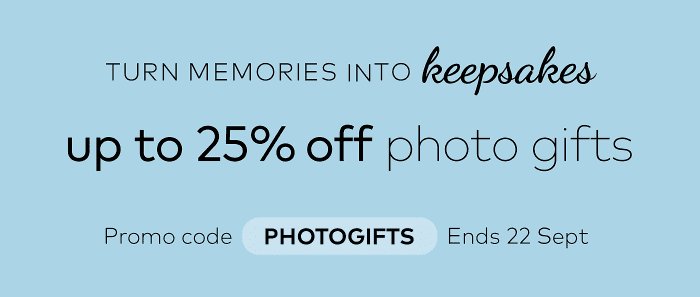 up to 25% off photo gifts. Promo code PHOTOGIFTS