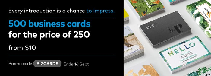 500 Business Cards for the price of 250. Promo code BIZCARDS