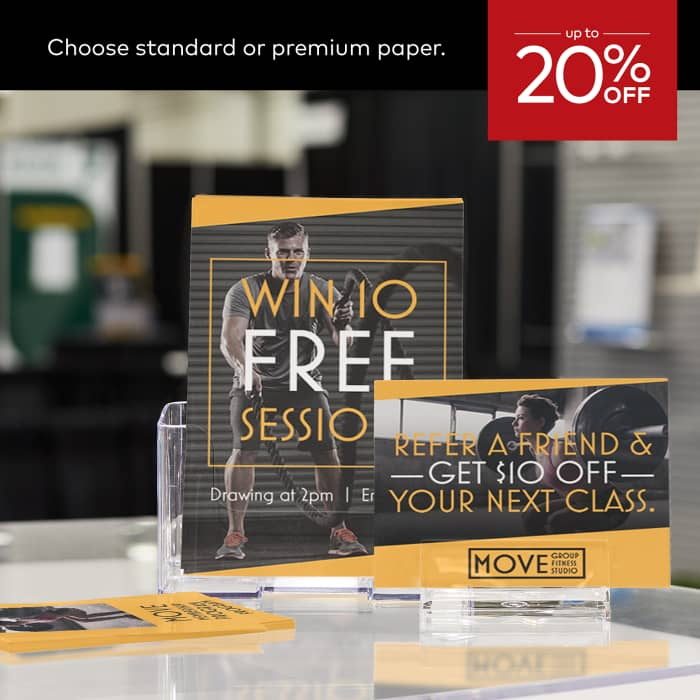 up to 20% off flyers. Choose standard or premium stock.