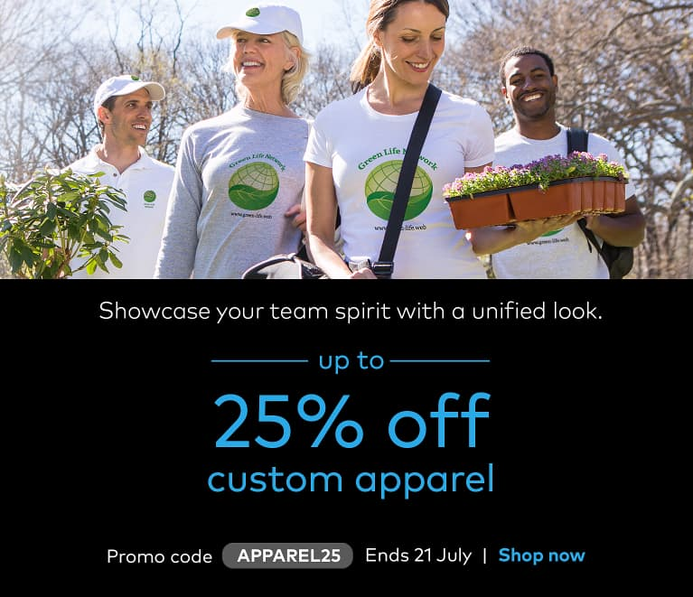 up to 25% off apparel. Promo code APPAREL25.