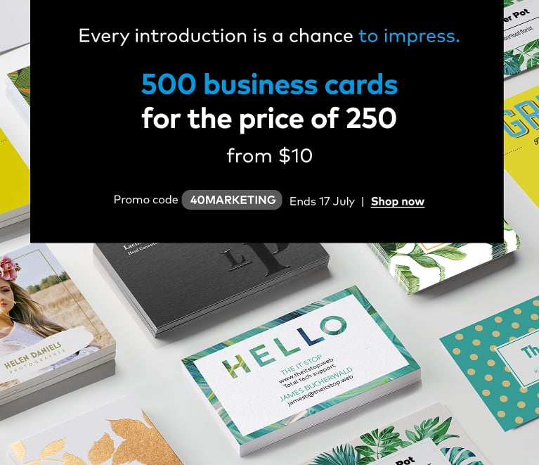 500 Business Cards from $10. Promo code 40MARKETING.