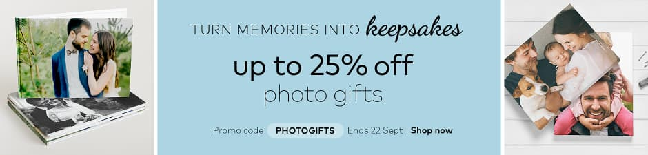 up to 25% off photo gifts. Promo code PHOTOGIFTS.