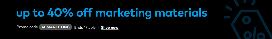 up to 40% off marketing materials. Promo code 40MARKETING.