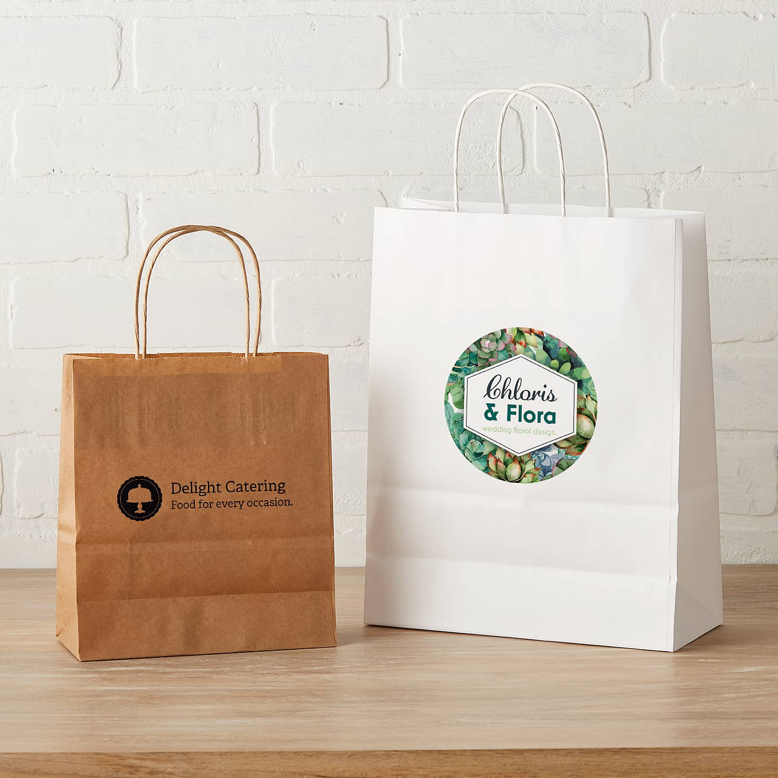 Custom Paper Bags Brown White Vistaprint