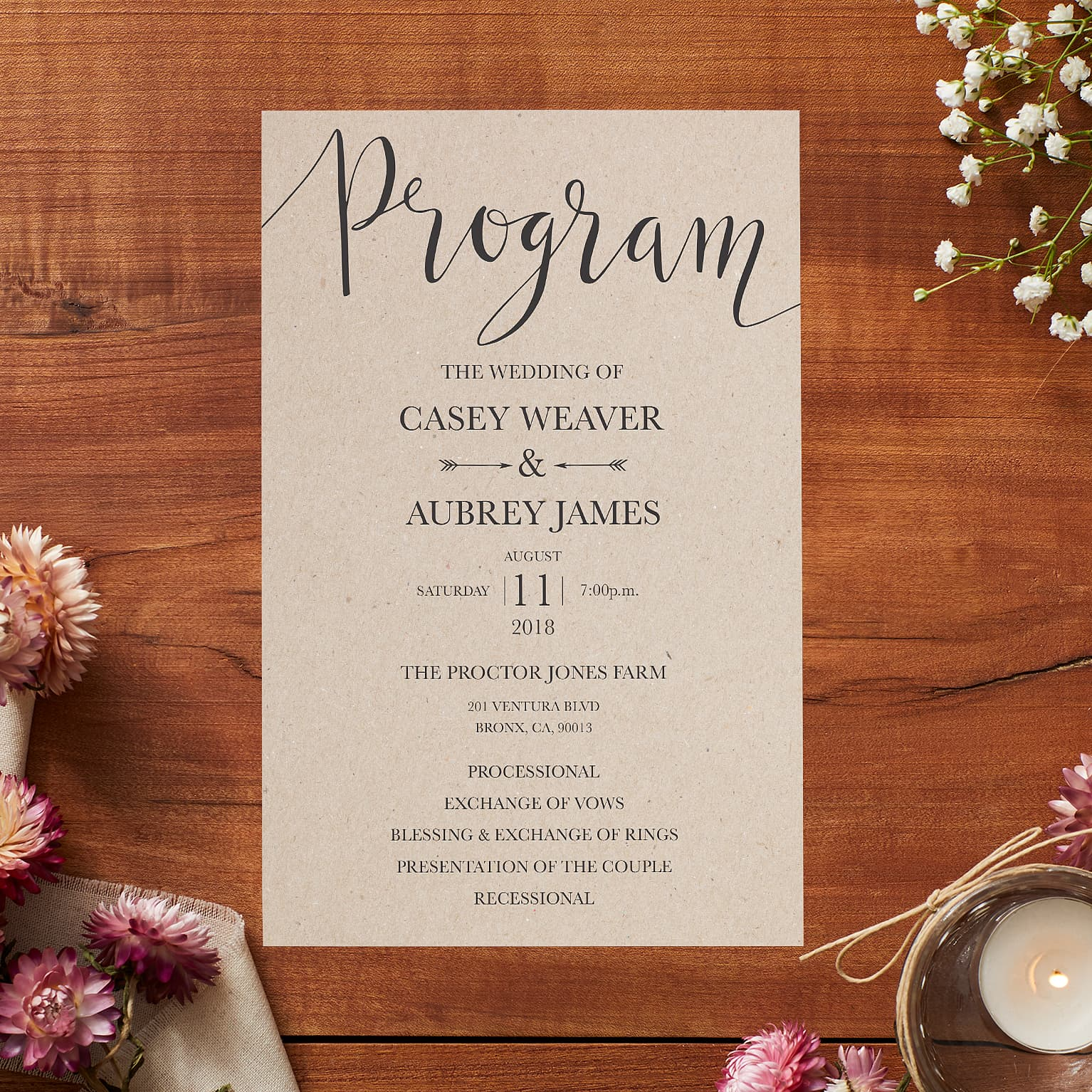 Wedding Programs for Ceremonies & Receptions | Vistaprint