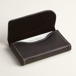 668f7c117c26 Black Leather Horizontal Business Card Holders