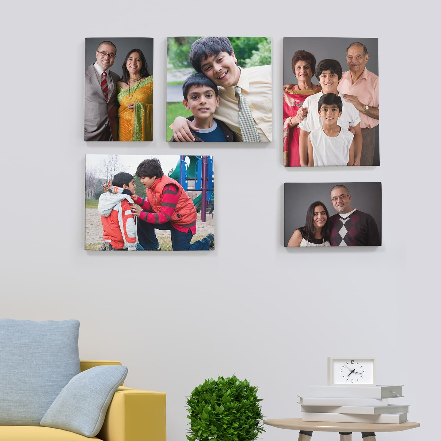 Personalised  Three Photo Collage Printed on to a framed canvas ready to hang