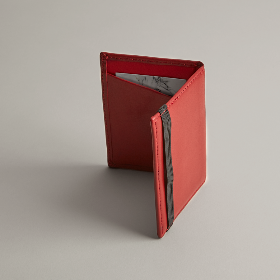Folded Red Leather Business Card Holder