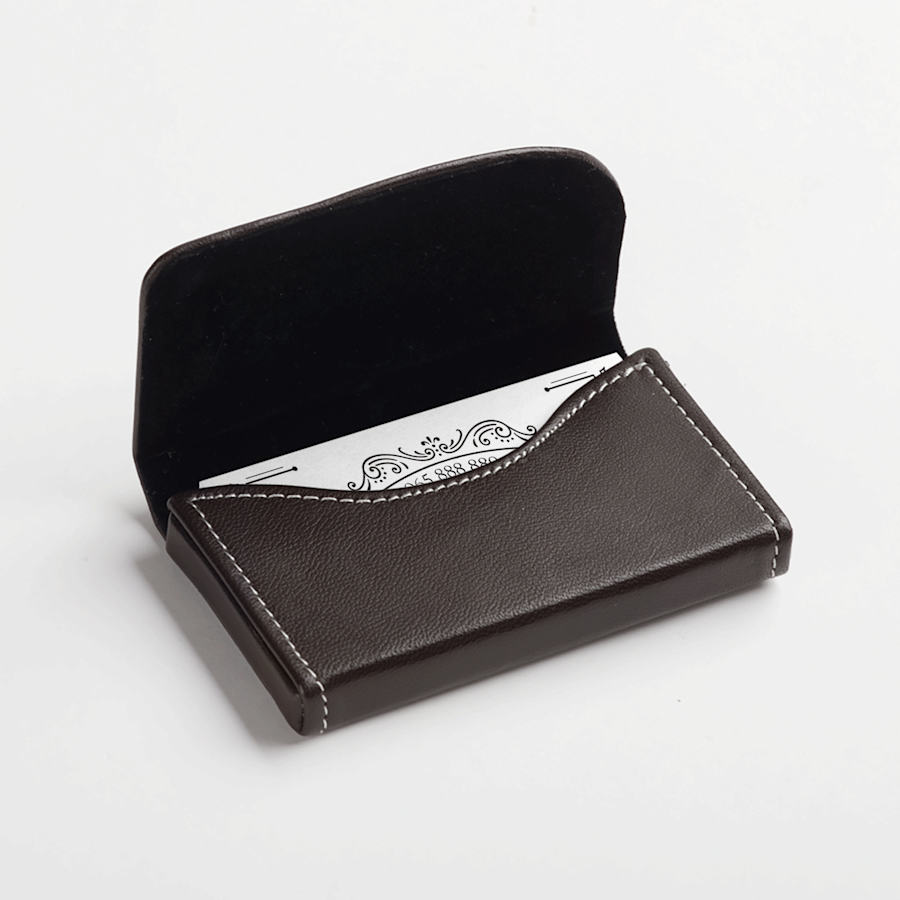 Black Leather Horizontal Business Card Holders