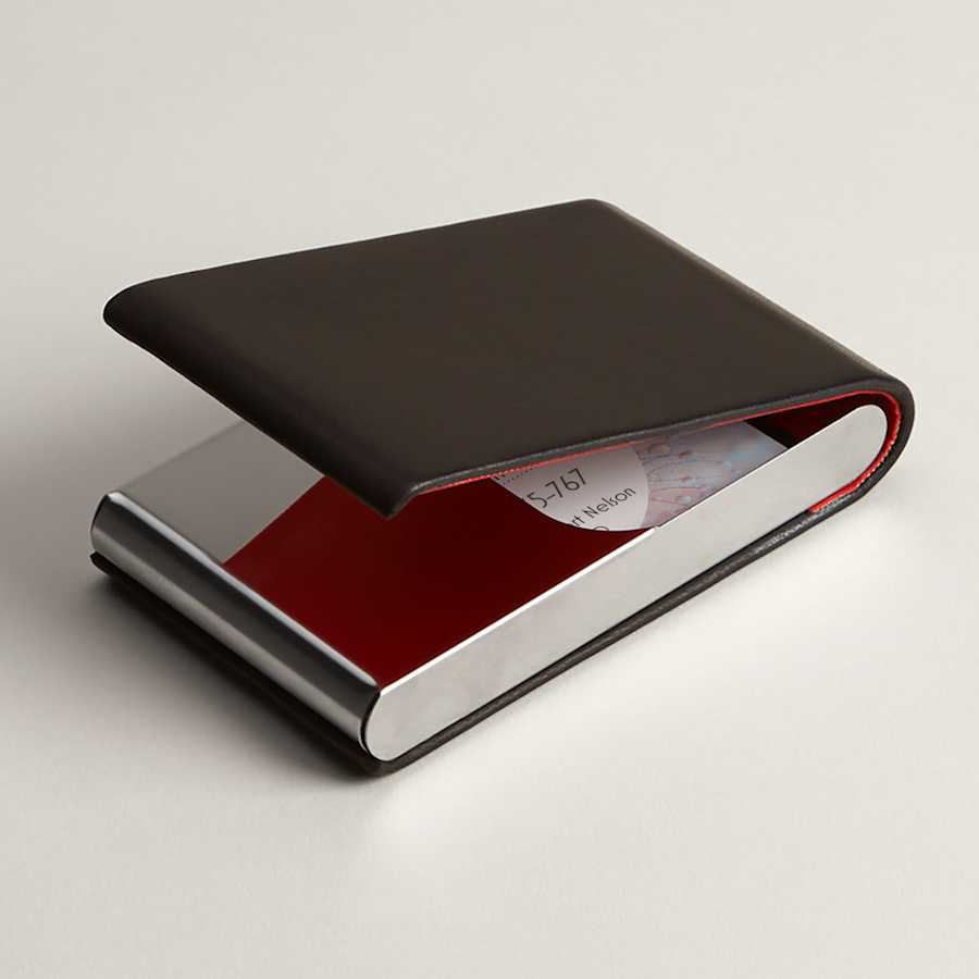Black Leather Vertical Business Card Holders
