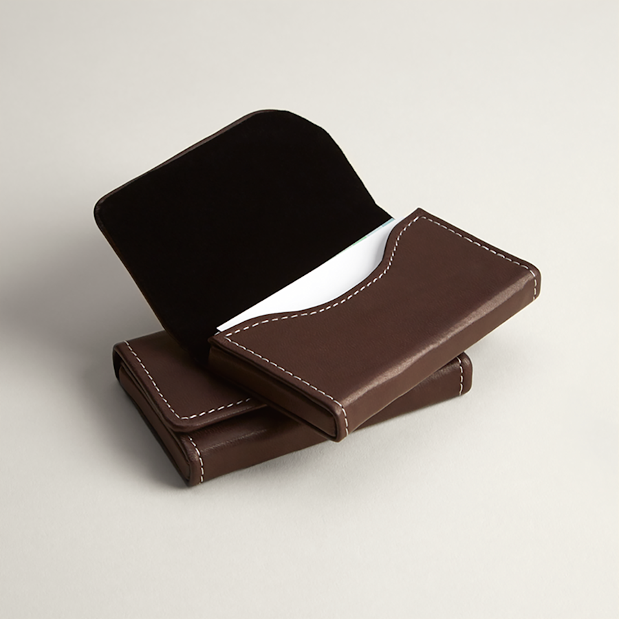 Brown Leather Horizontal Business Card Holders