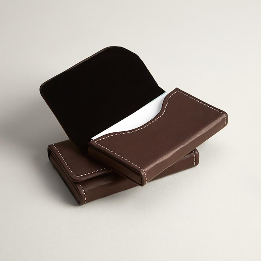 Tarjeteros horizontales de piel de color marrón