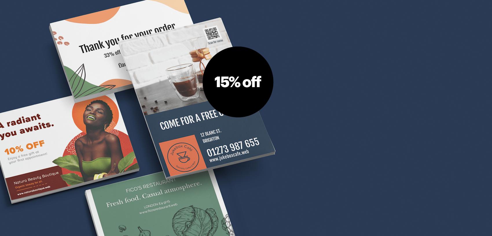 15% off postcards