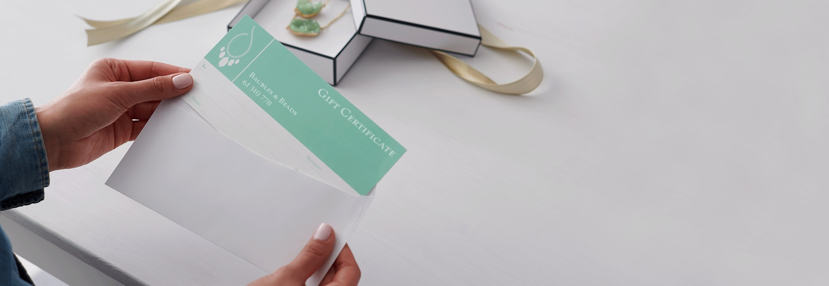 personalised gift voucher with mint colour scheme