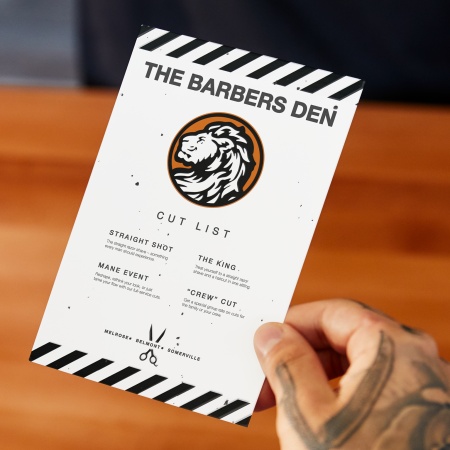 barber shop flyer with lion logo in orange black and white