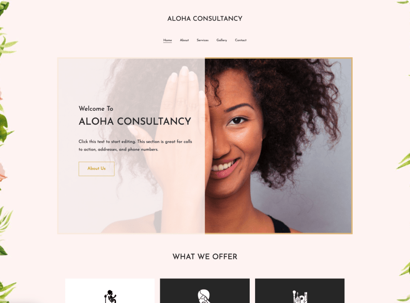 Design a website with Vistaprint like this spa or salon website template