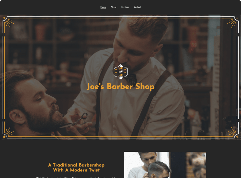 Build your own business website like this barber shop website template