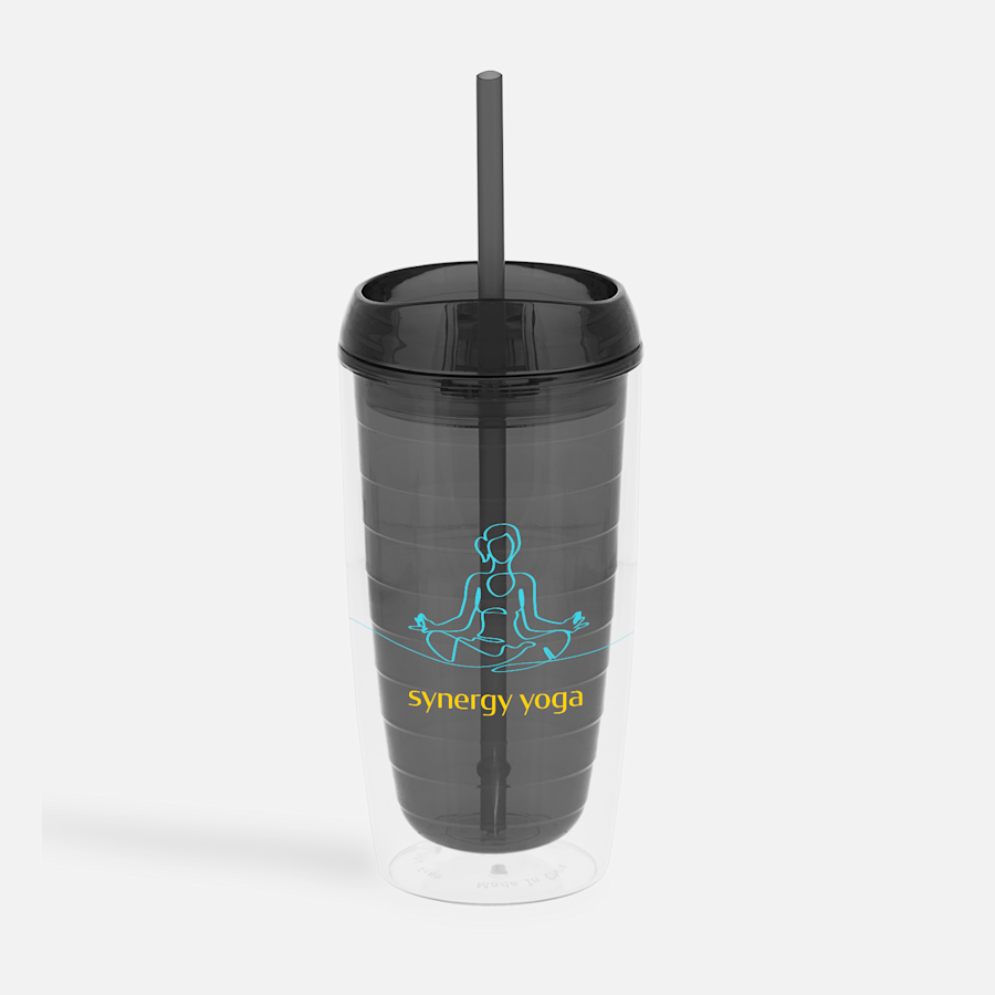 Double-Wall Tumbler with Straw – 16 oz.