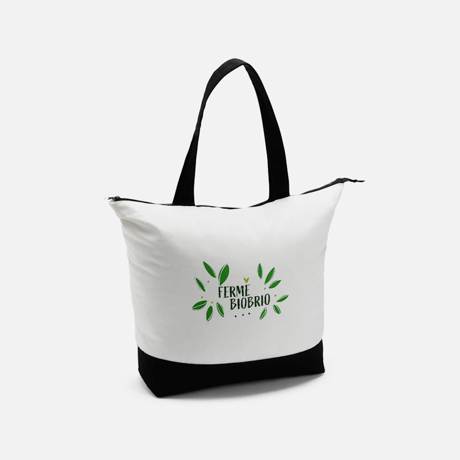 Grand sac fourre-tout en coton avec fermeture à glissière Vistaprint