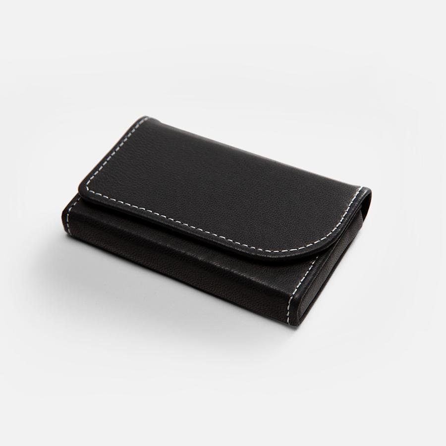 Porte-cartes d'affaires horizontal en cuir noir