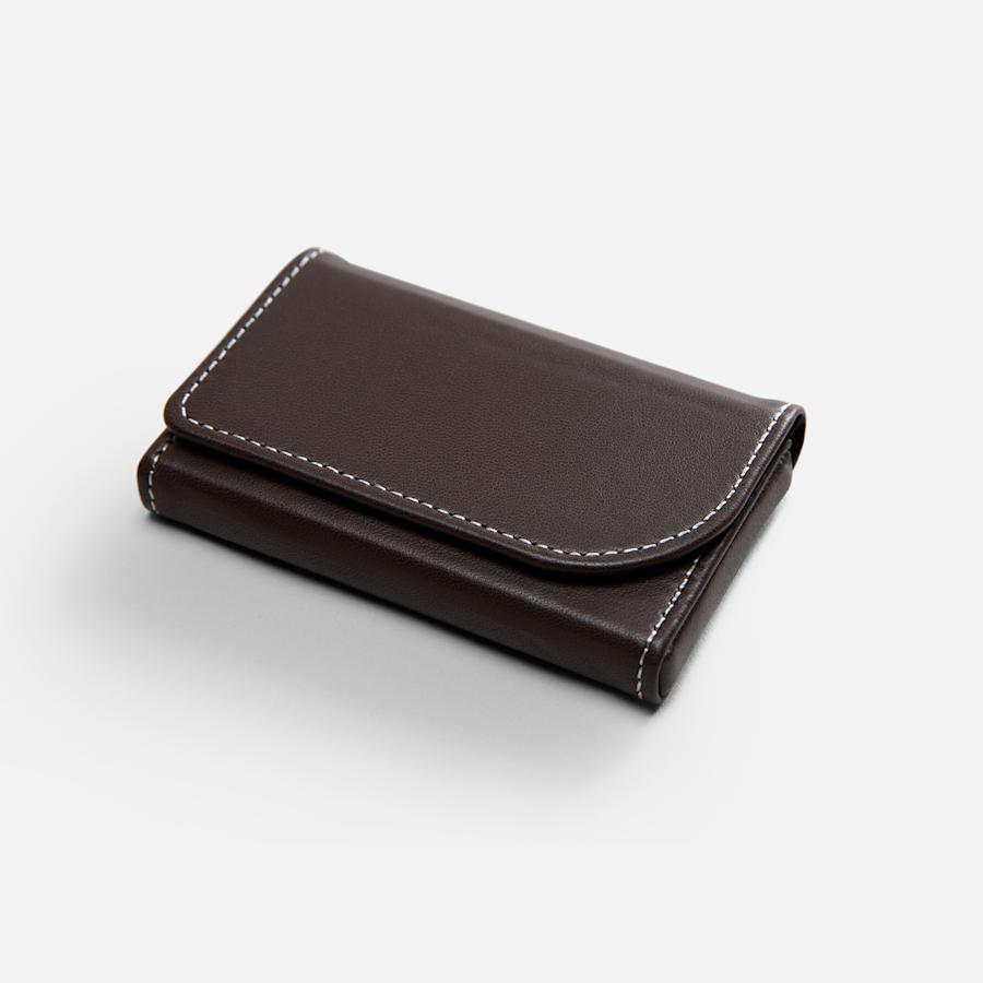 Porte-cartes d'affaires horizontaux en cuir marron