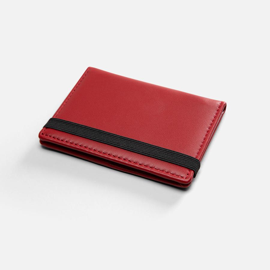Porte-cartes d'affaires pliants en cuir rouge