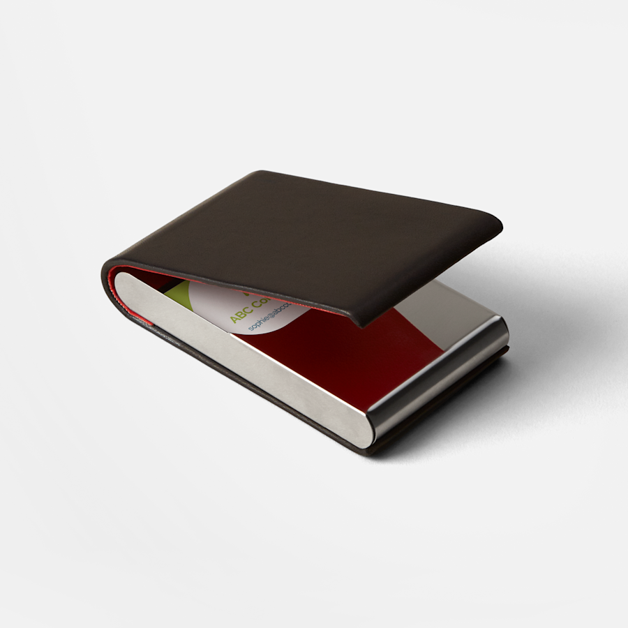 Porte-cartes d'affaires vertical en cuir noir