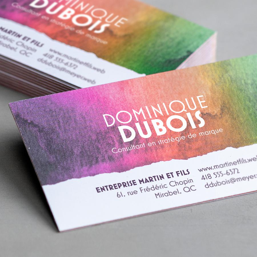 Cartes d'affaires à tranche colorée