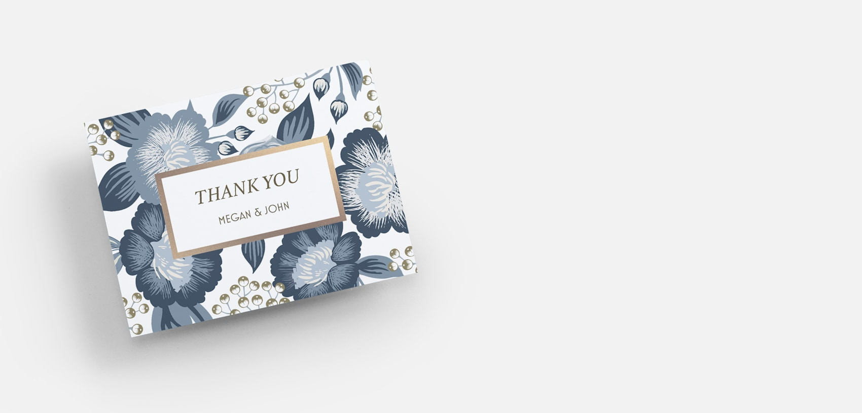 personalized wedding thank you card with blue flowers