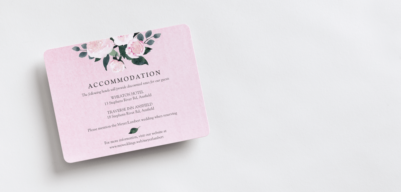 wedding invitation enclosures with pink floral theme
