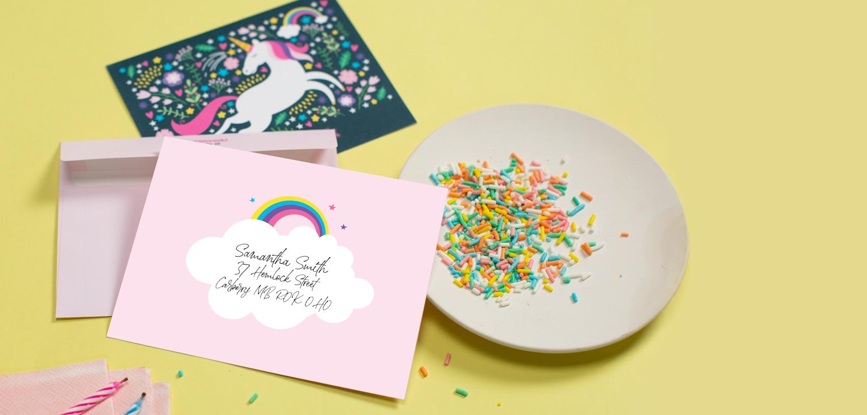 custom envelopes with rainbow