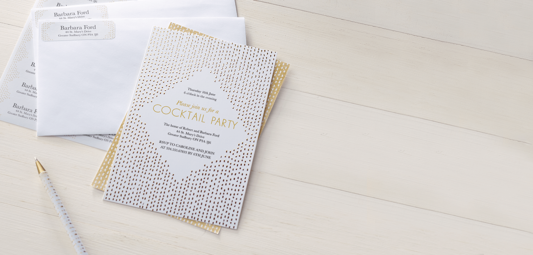 black and gold cocktail party invitation