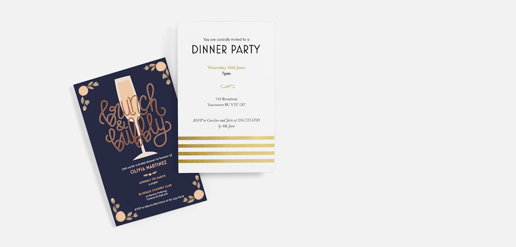navy blue brunch party invitation and white and gold dinner party invitation