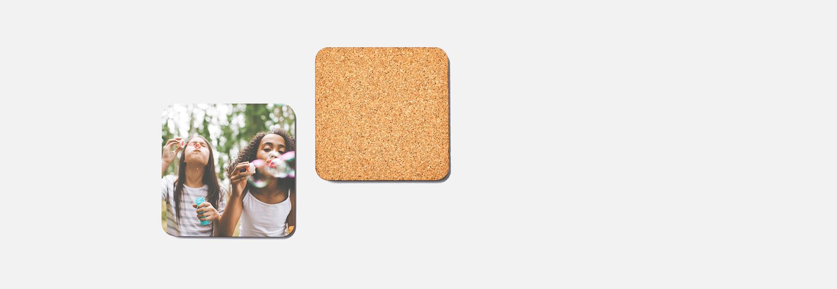 custom coasters with cork back