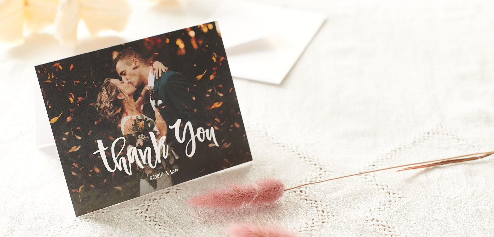 photo thank you card with bride and groom wedding photo