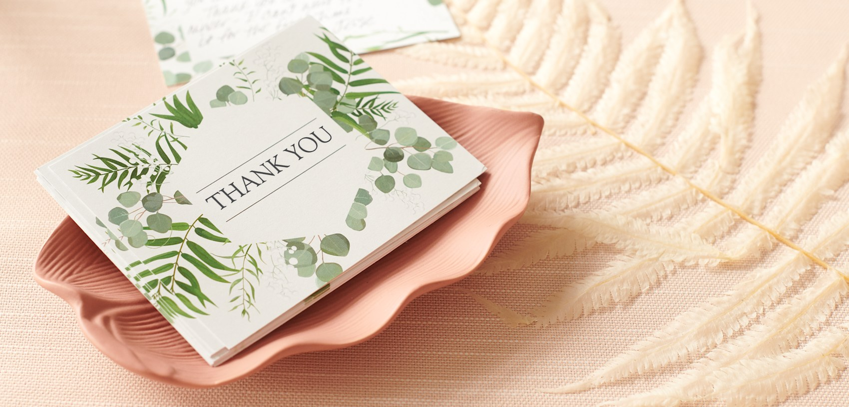 personalized thank you card with greenery theme