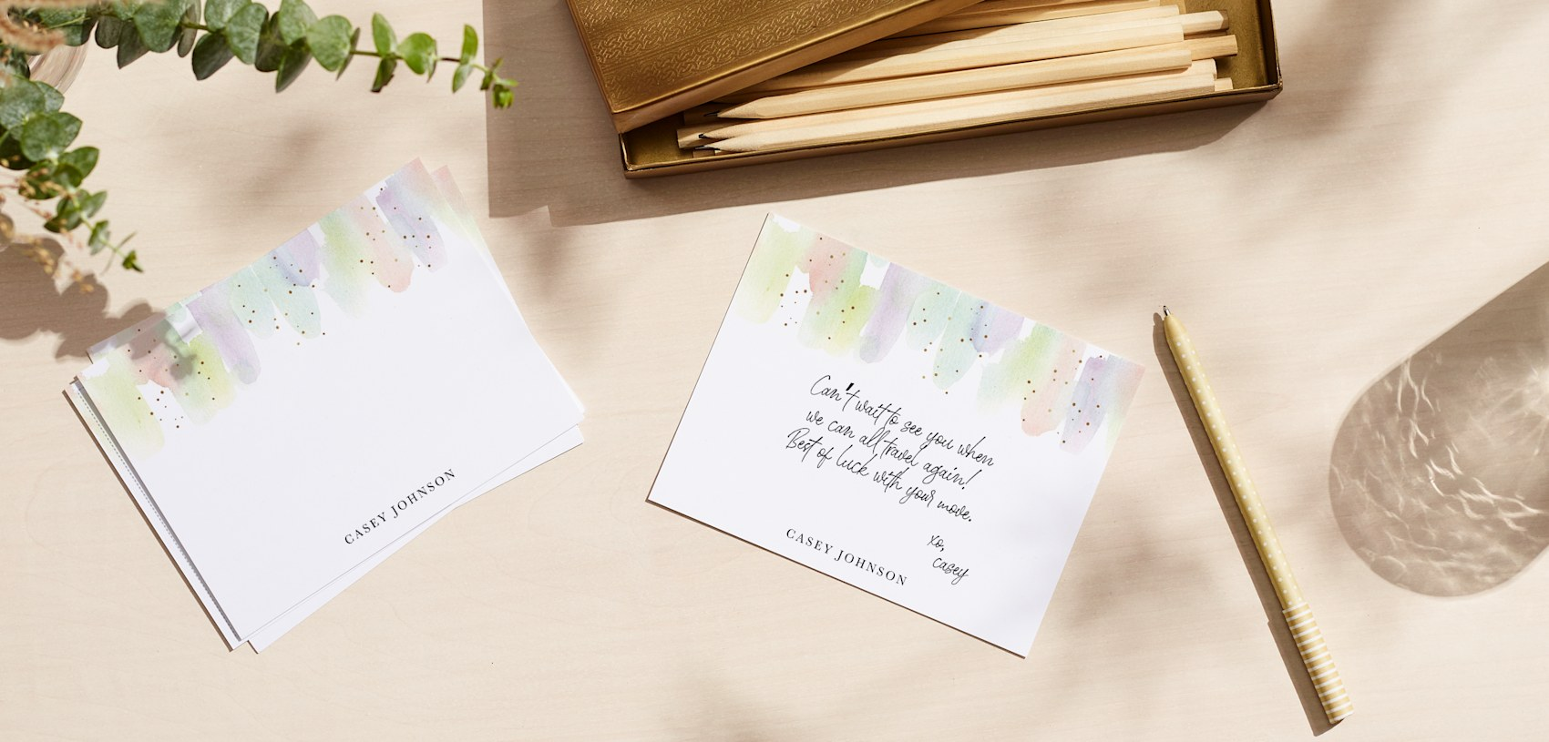 custom cards with watercolour design